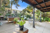 Garden with deck and water feature