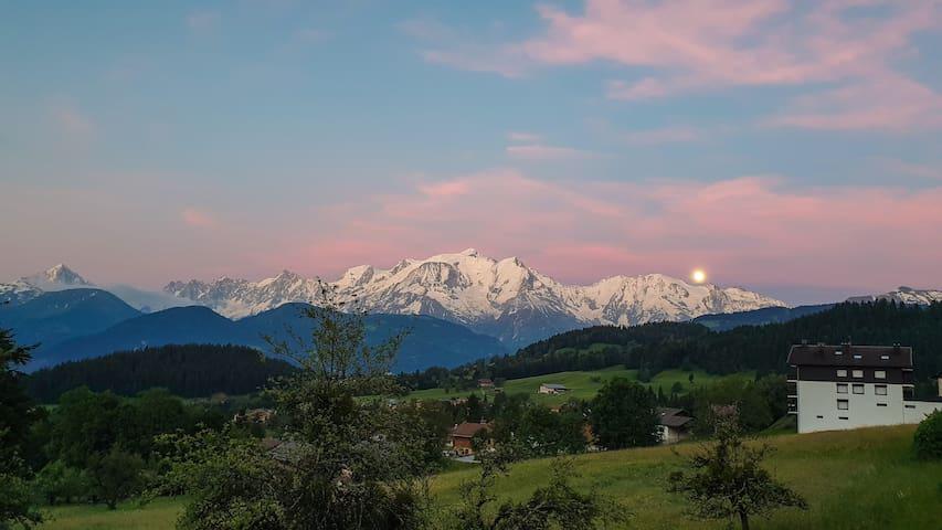Appart cosy et lumineux face au Mont-Blanc