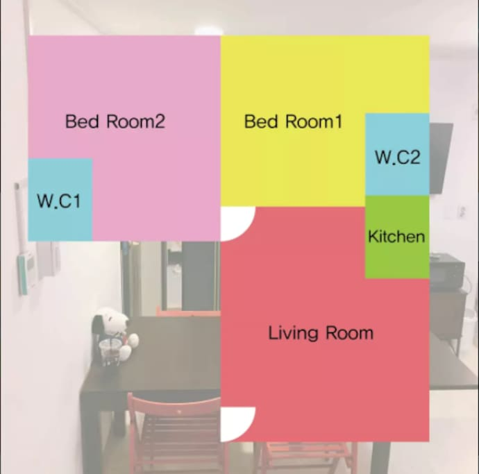 #504 is full equipped one livingroom and two bedrooms and two bathrooms / 504호는 모든시설이 갖춰진 거실1, 침실 및 화장실 2개 룸입니다.
