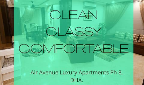 LG 15: Luksuriøs, ren og sikker lejlighed i DHA.
