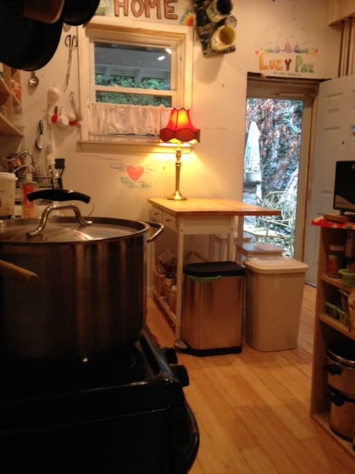 Simple kitchen with access to small back yard with seating