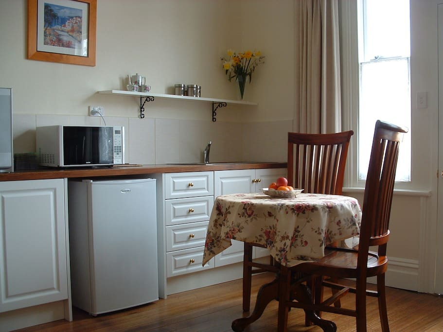 private fully equipped kitchenette (microwave, fridge, kettle, toaster)