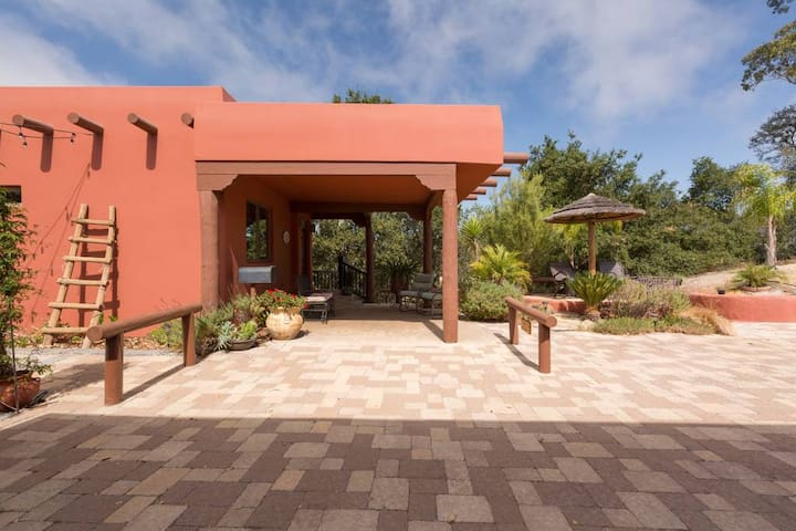 Covered porch and sitting area in front of your casita, perfect for stowing bikes.