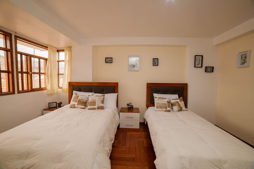 Matrimonial Bed & Single Bed private Bathroom, has TV cable, closet. Charming place