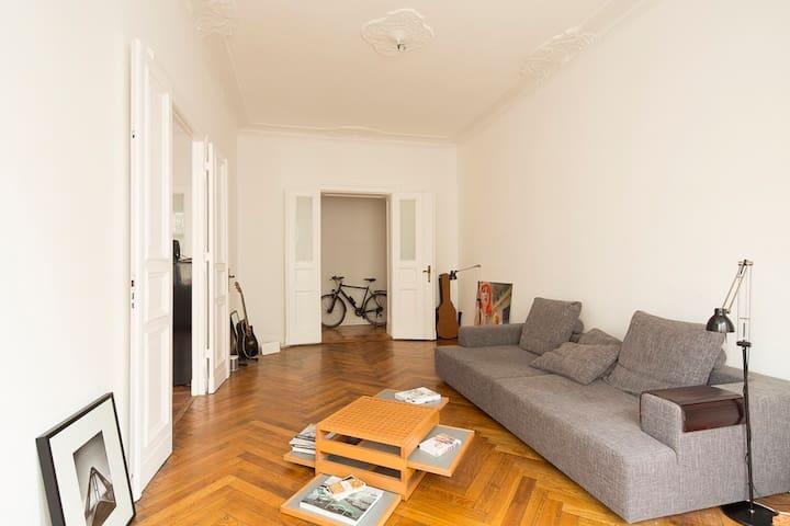 Living room with double door