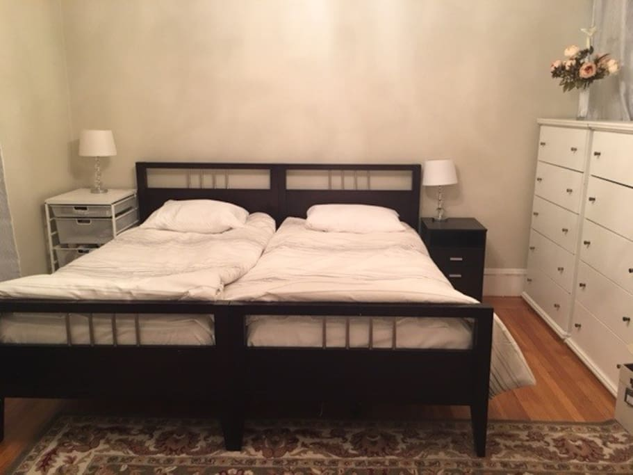 Two real twin beds with Seally mattresses. Quiet room with lots of storage and closets.