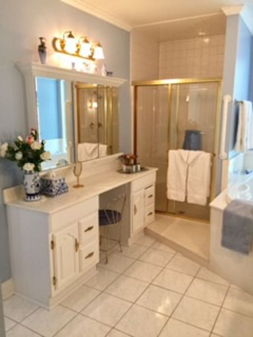 Enjoy a well lit vanity for getting ready while your other uses the sink behind you :)  Shower AND a jetted tub for two.