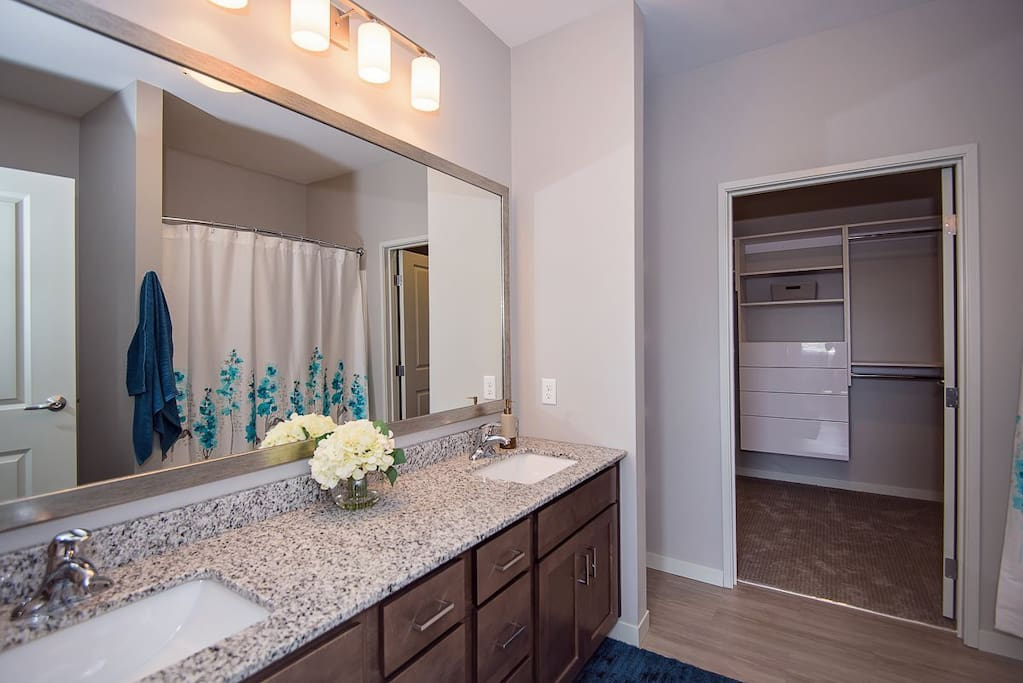 Two spacious master bedrooms with 2 master baths with huge walk-in closets