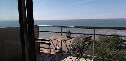 Studio vue mer, proximité commerces, 150m plage