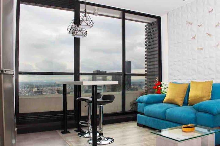 Moderno apartaestudio frente a torre Colpatria