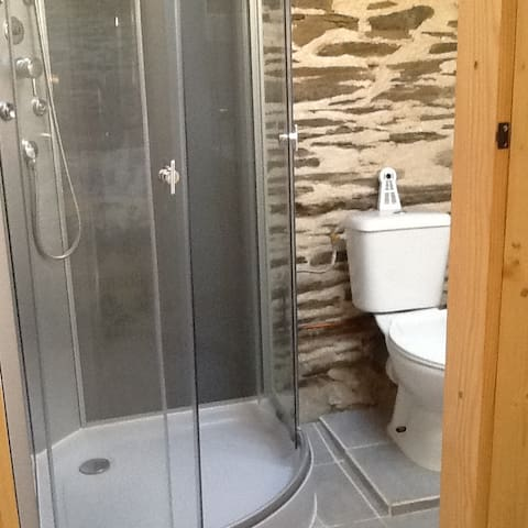 Shower, wash basin and toilet