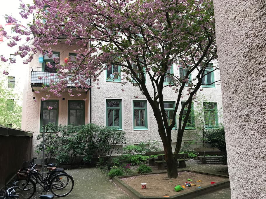 The apartment faces a calm courtyard