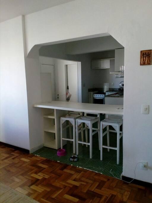 vista da sala para cozinha e um balcão para refeições