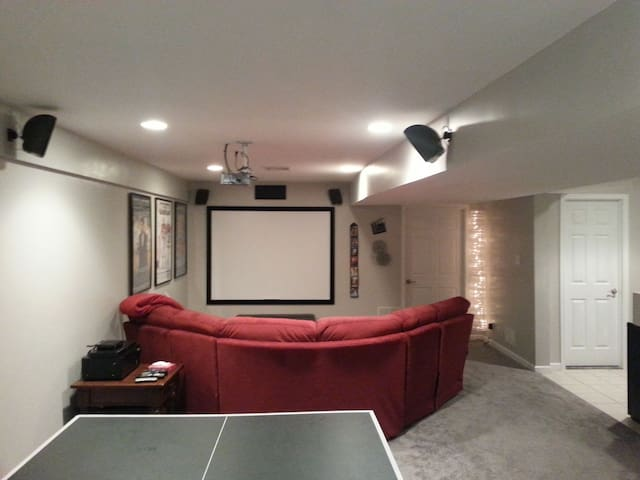 """Home Theater with 92"""" screen"""