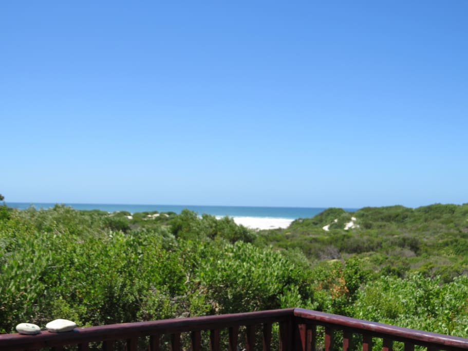 View from deck, a short walk (70m) through dune fynbos will get you to the beach and fresh water lagoon