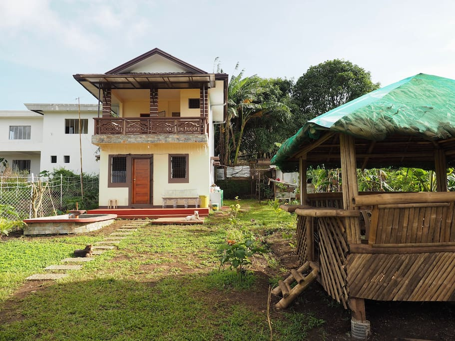 The Quiet Villa in Tagaytay has garden-farm, fish pond and nipa hut.  Basketball court will be up to the land of 500sqm this month of January