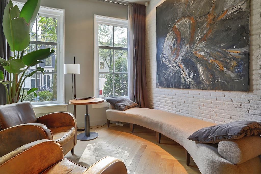 Ground floor lounge overlooking the canal