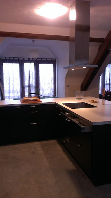 Spacious double width open kitchen.