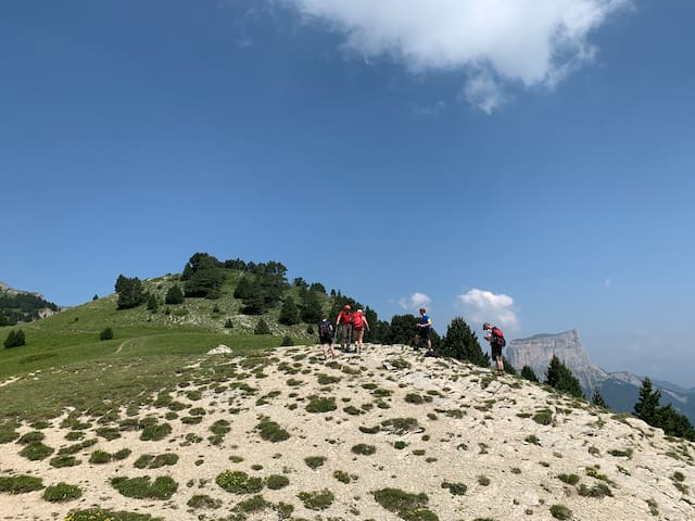 Hiking on the Vercors plateau, in the background the famous Mont Aiguille