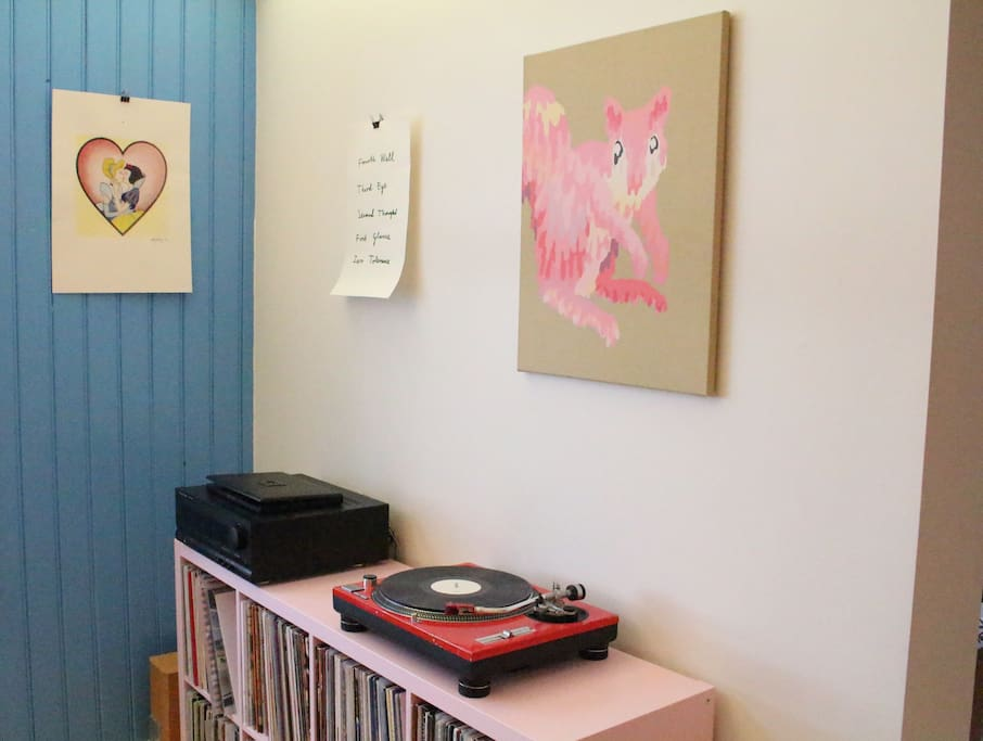 We have some cool contemporary Icelandic art and a nice big record collection.