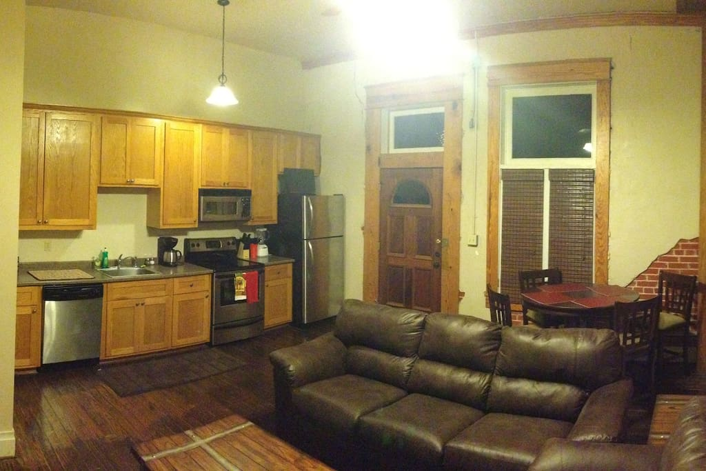 Living Room and Kitchen Area.