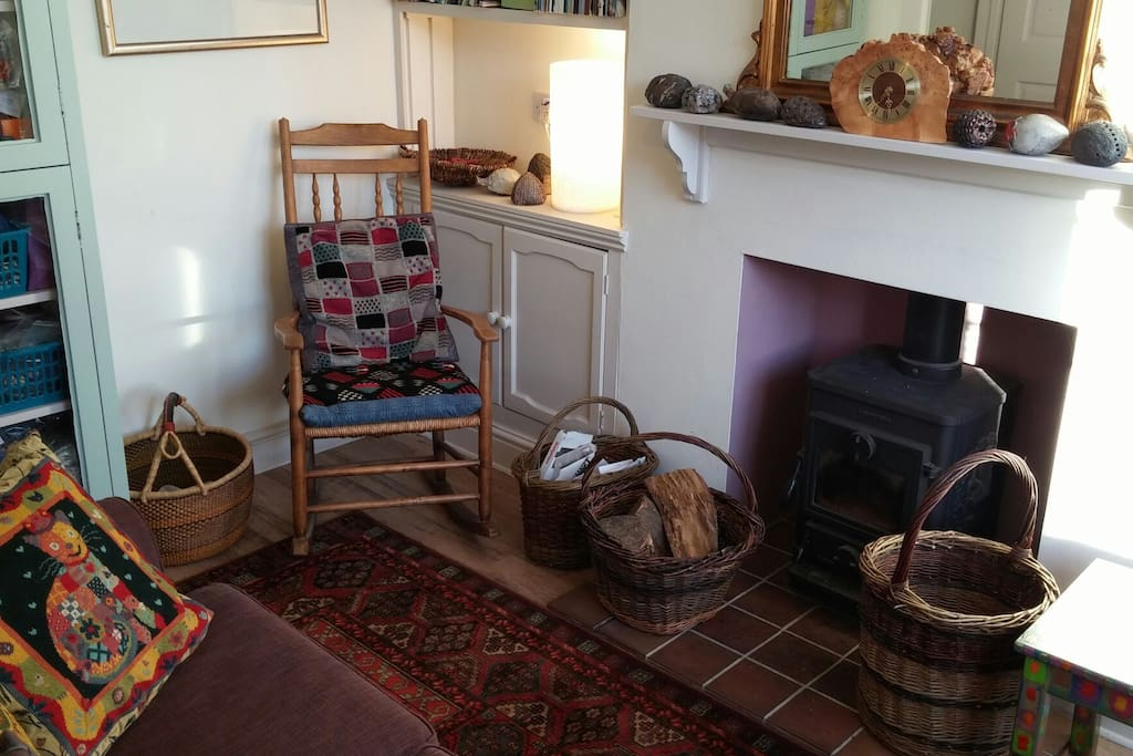 Comfortable front room with Cathedral view.  Wood burning stove is lit in winter.