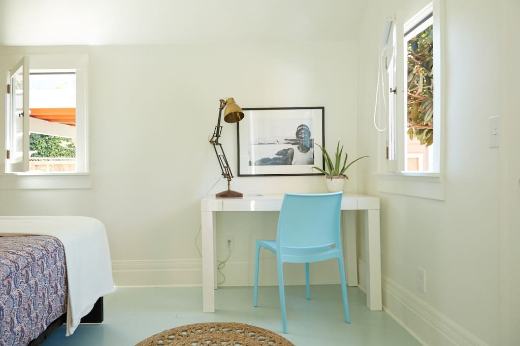 desk area- features chic celery-painted floors.