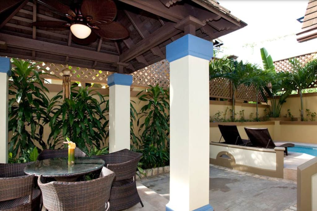 Private patio and dip pool