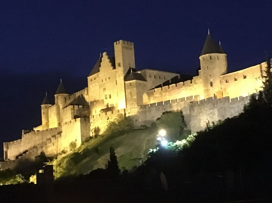 Castle at night from rear of house