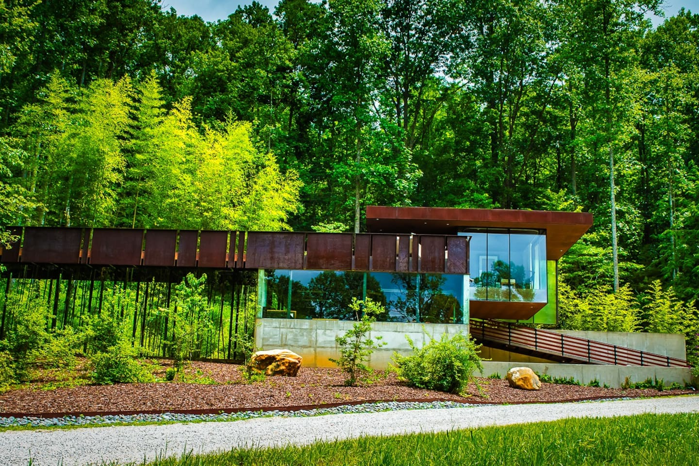 American Institute of Architects award winning tree house on private 22 acre modern mountain estate - Glass Cabin above & Bamboo House below (available late Fall 2019).