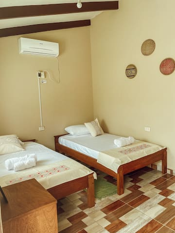 Room with 2 single beds, AC and private bathroom