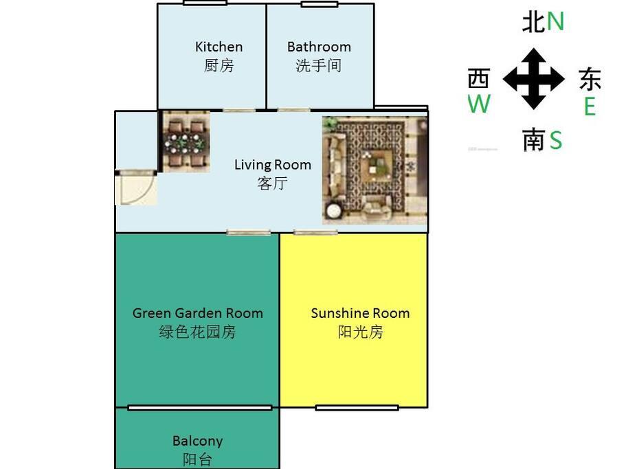 整套房子的房型图 双卧朝南,无敌采光! Aparment layout drawing.