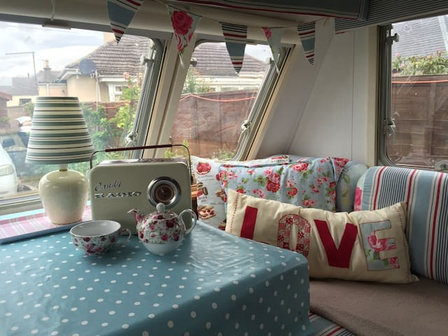 Shabby chic caravan with decking in Carnoustie.