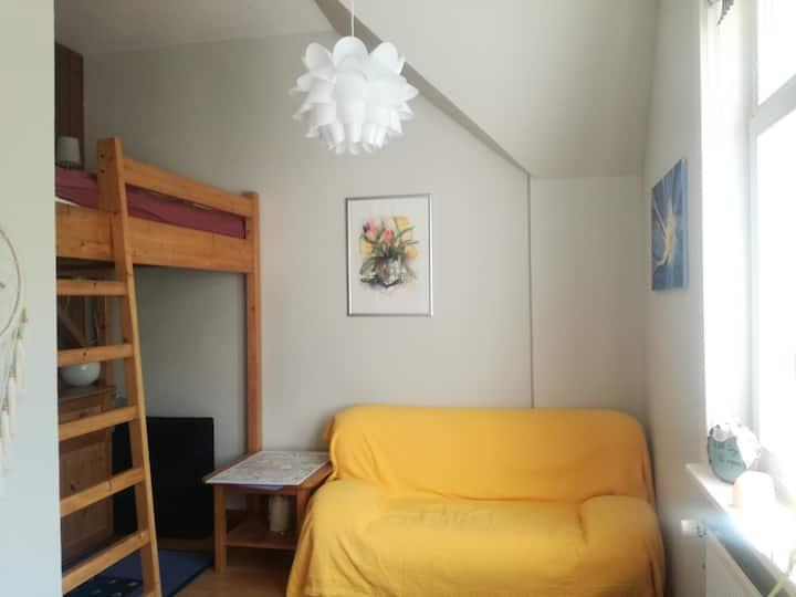 Kleines Zimmer mit Hochbett und Blick in den Wald!