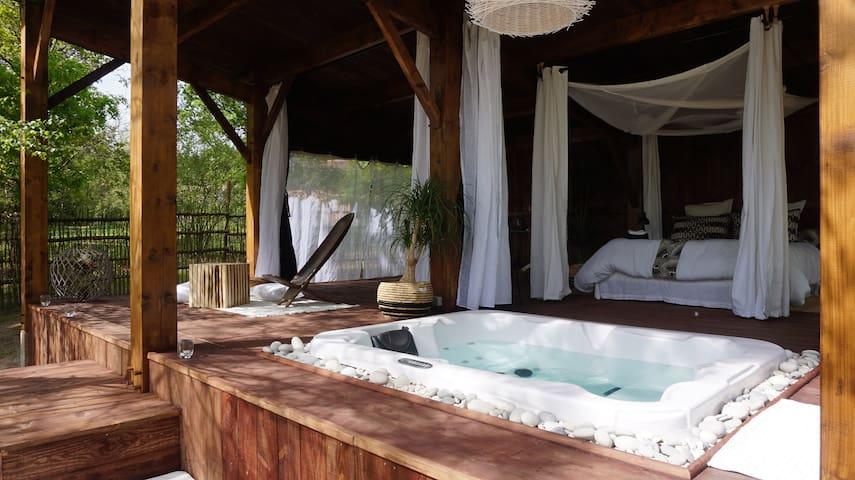 Cabane Le Lodge et son spa dans le sud Gironde - Origne - Pensió