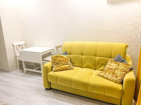 Гостиная + кухня   Удобный раскладной диван , обеденная зона , напротив плазма