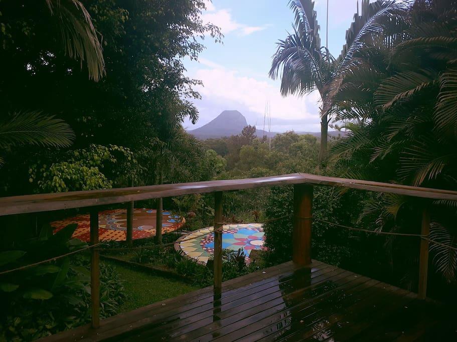 View of Mt Cooroora from verandah, overlooking our yoga mandalas