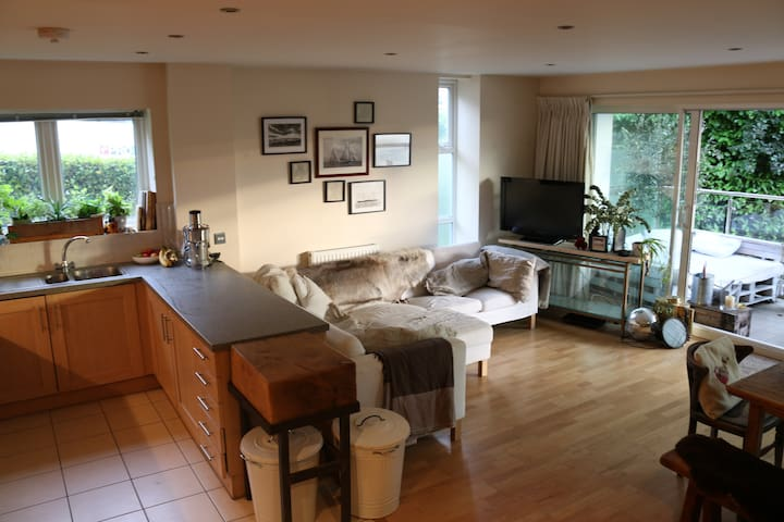 Open plan, 2 bed flat, large balcony, trendy area. - Poole