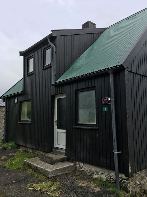 The house lies at the end of the road in Múla, parking space available