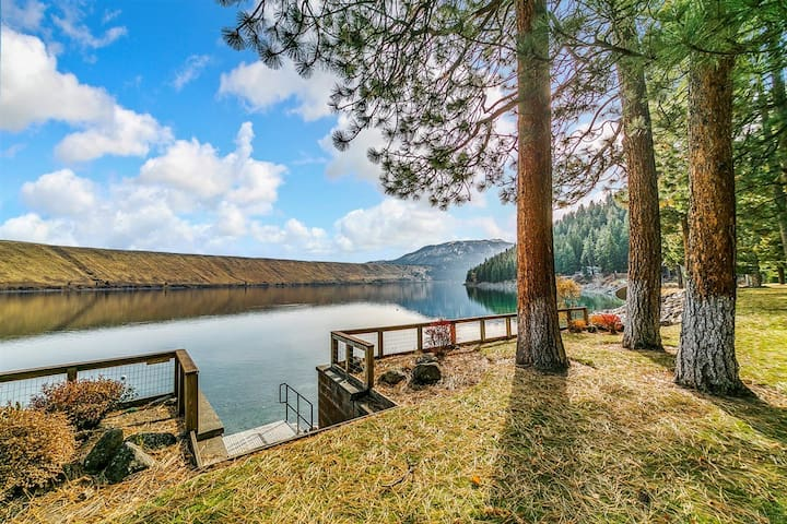 Located on Wallowa Lake this large home was designed to enjoy the views from almost every room!