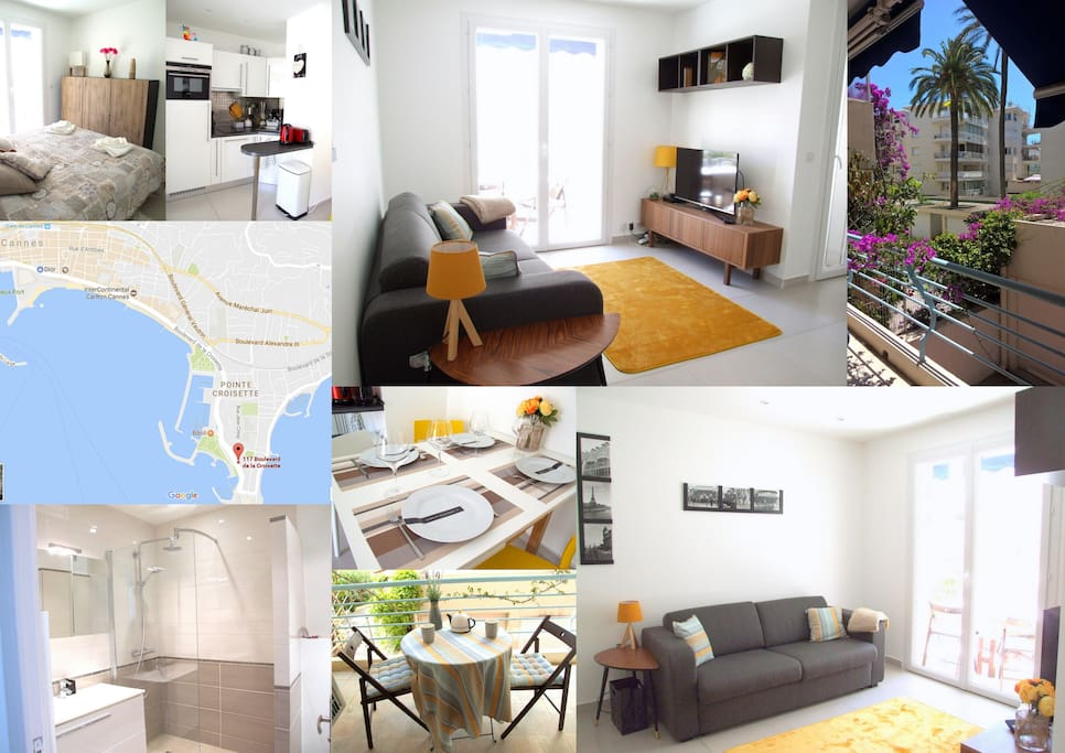 Apt 4 people in palm beach beach access appartements for Location garage cannes palm beach