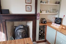 A mixture of old and new in newly equipped kitchen