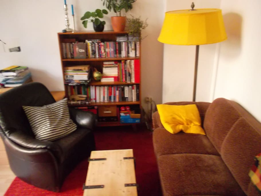 Living room with a sunny-selfmade lampshade!