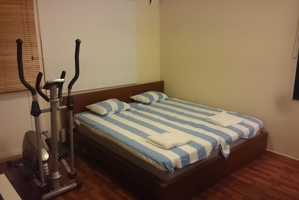 There is also exercise equipment in the bedroom.