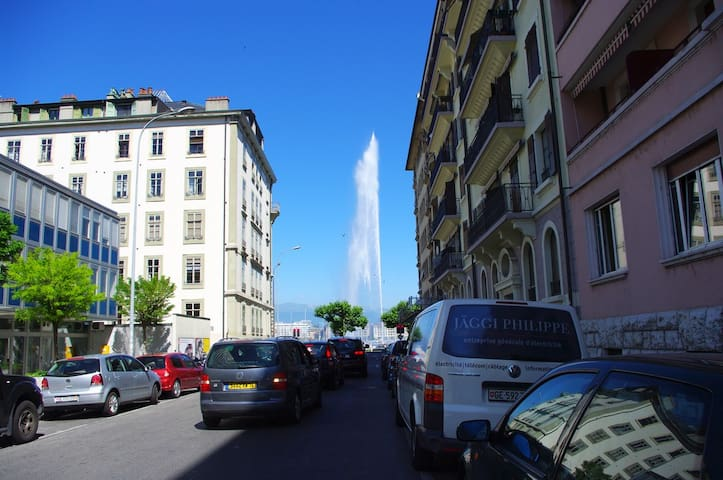Cosy Apartment @ Eaux -Vives Geneva view Fountain