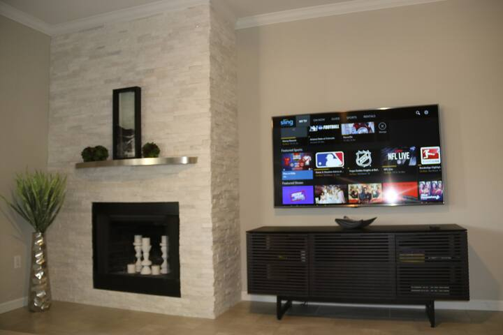 Family Room with 65 inch TV