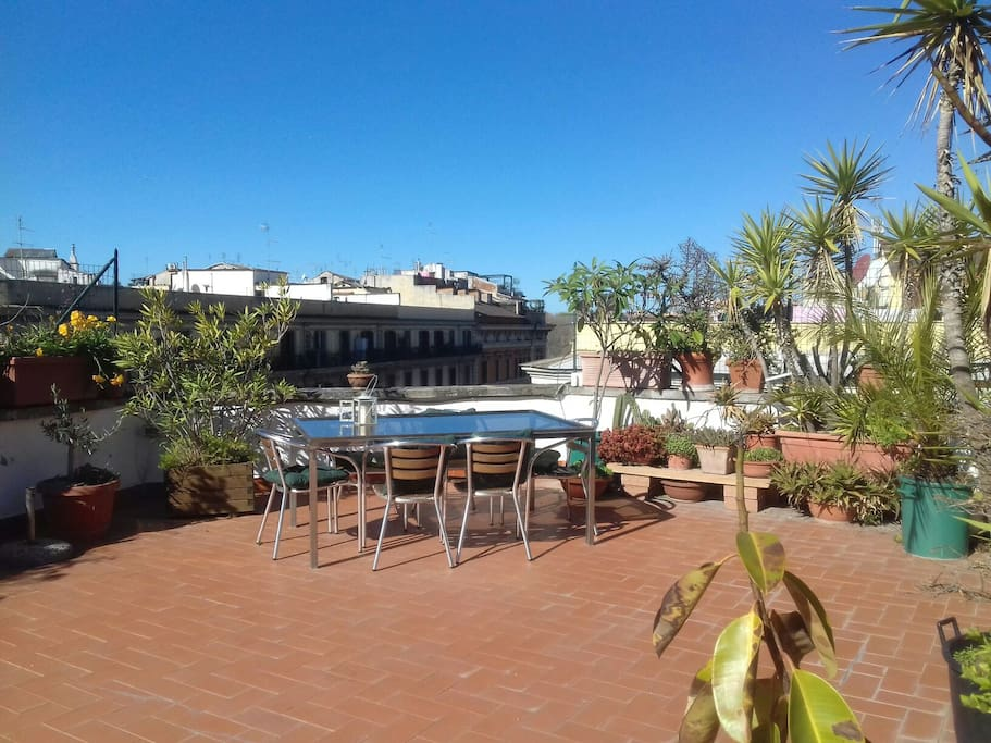 Top floor penthouse with roof terrace flats for rent in for Airbnb roma
