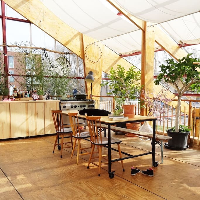 The greenhouse kitchen and terrace