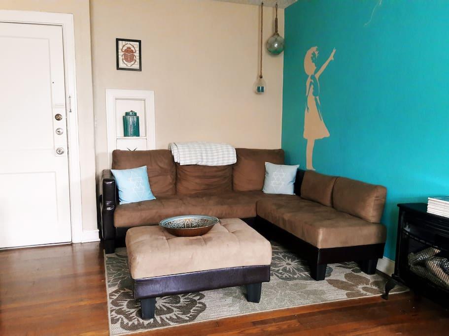 Front door and living room