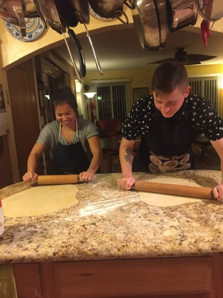 Rolling out pasta dough is fun!